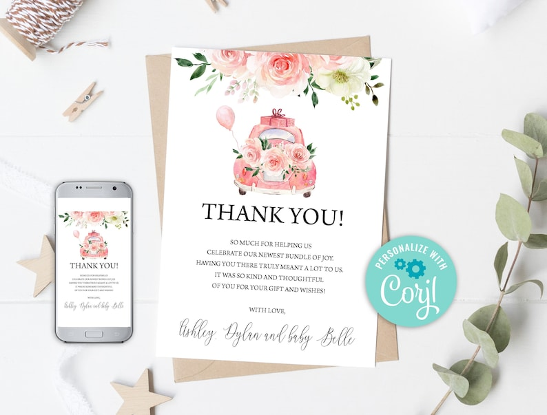 Virtual Baby Shower 0110 Drive By Baby Shower Thank You Card Pink Floral Drive Through Baby Shower Thank You Social Distancing Shower