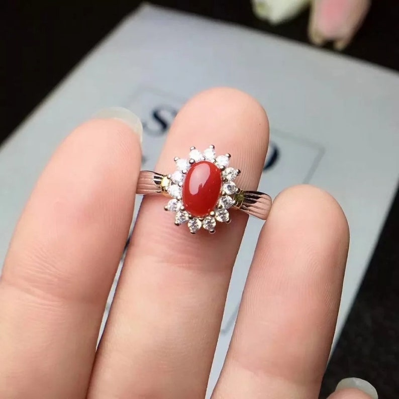 Latest Jewelry Sizable Red Coral Handmade Jewellry 925 Sterling Silver Plated 5 Grams Ring Size 7 US