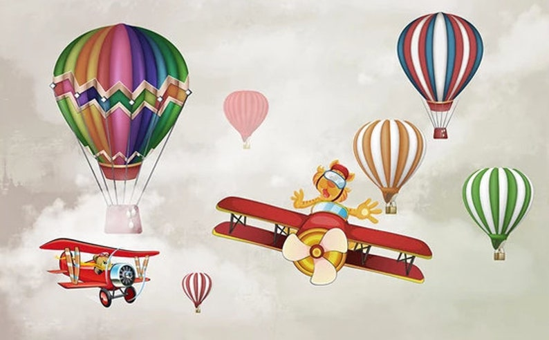 Kids Wallpaper Aircraft Personality Hot Air Balloon Poster Children/'s Room Background Wall Wall Art Wall poster Kids Room