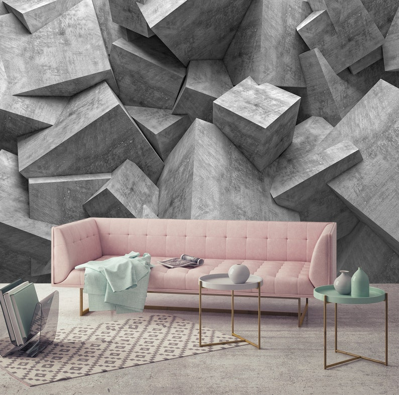 2ff993673405c 3D Grey cube Wallpaper , Concrete Poster , Background Livingroom Office  Bedroom Rooms Wall Mural Muraviewall