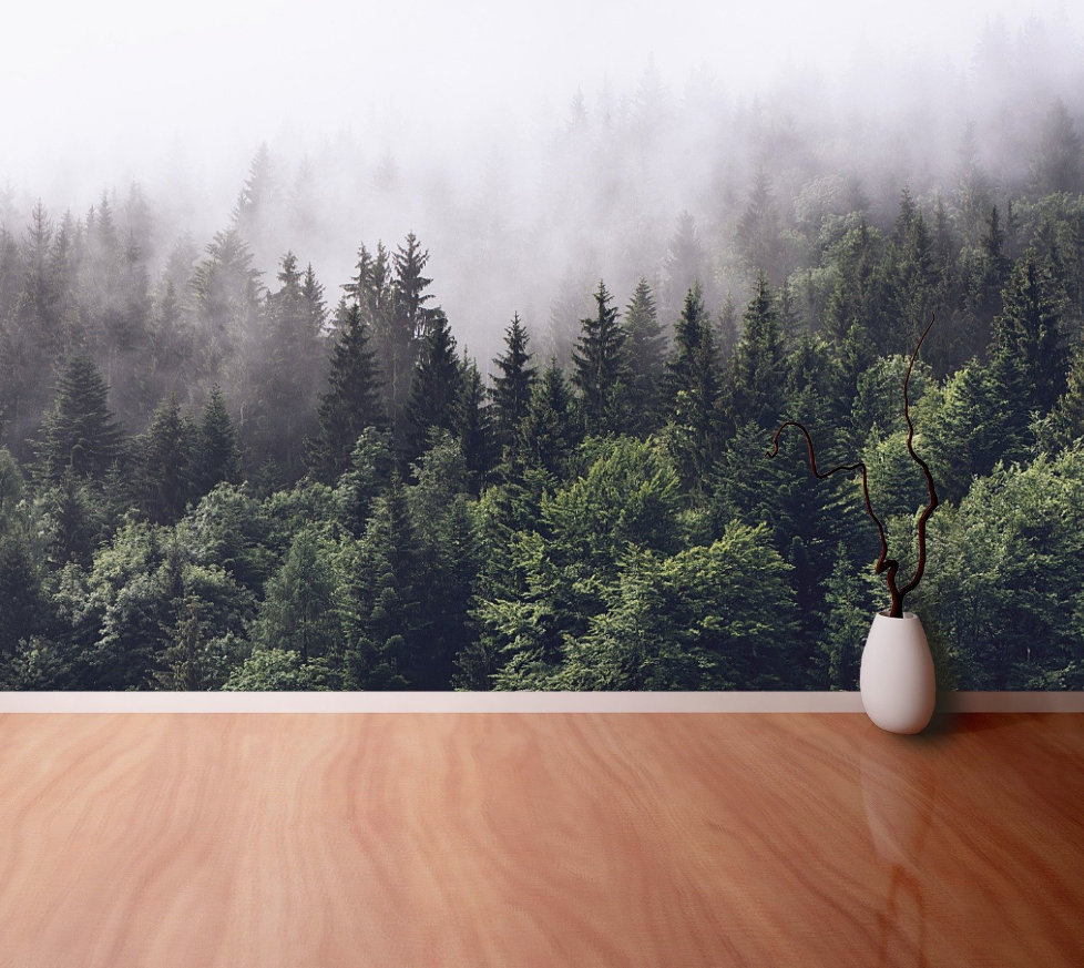 Foggy Forest Wallpaper Forested Mountain Slope In Low Lying Etsy