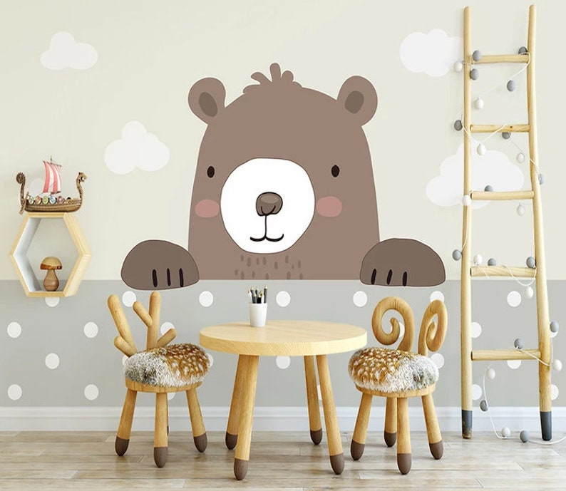 Baby Wallpaper Poster Whole House Simple Cartoon Bear Indoor Sofa TV Background Wall Kids Room