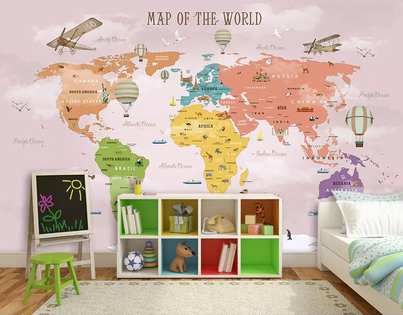 Kids Decor Waterproof Cartoon Ocean World Sticker Wall Adhesive Bedroom Backdrop