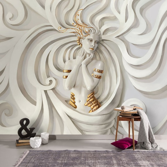 3d Relief Woman Medusa Wallpaper Modern Statue Hd Poster Wall Painting Living And Store Room Sculpture Woman