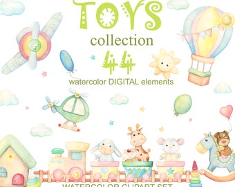 Baby toys watercolor clipart. For boys and girls, clip art decor with train, car, plane, balloon. Сute toys.