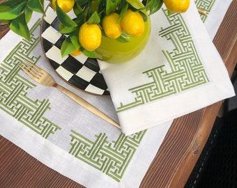 Linen placemats. 100% Linen placemat set. Labyrinth Design Linen Coastal set of 4 6 8 10 12. Embroidered linen table placemat. Table linens.