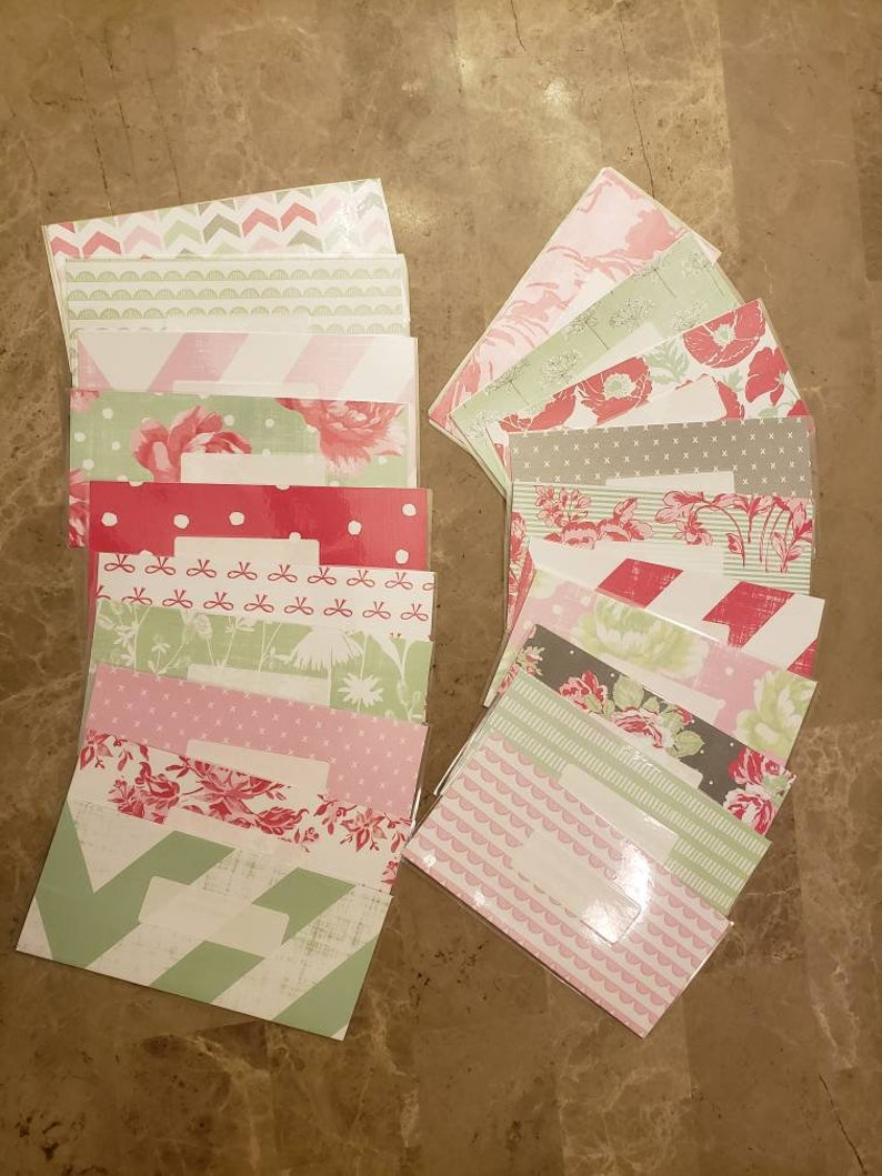 qty 6 Laminated cash envelopes with label