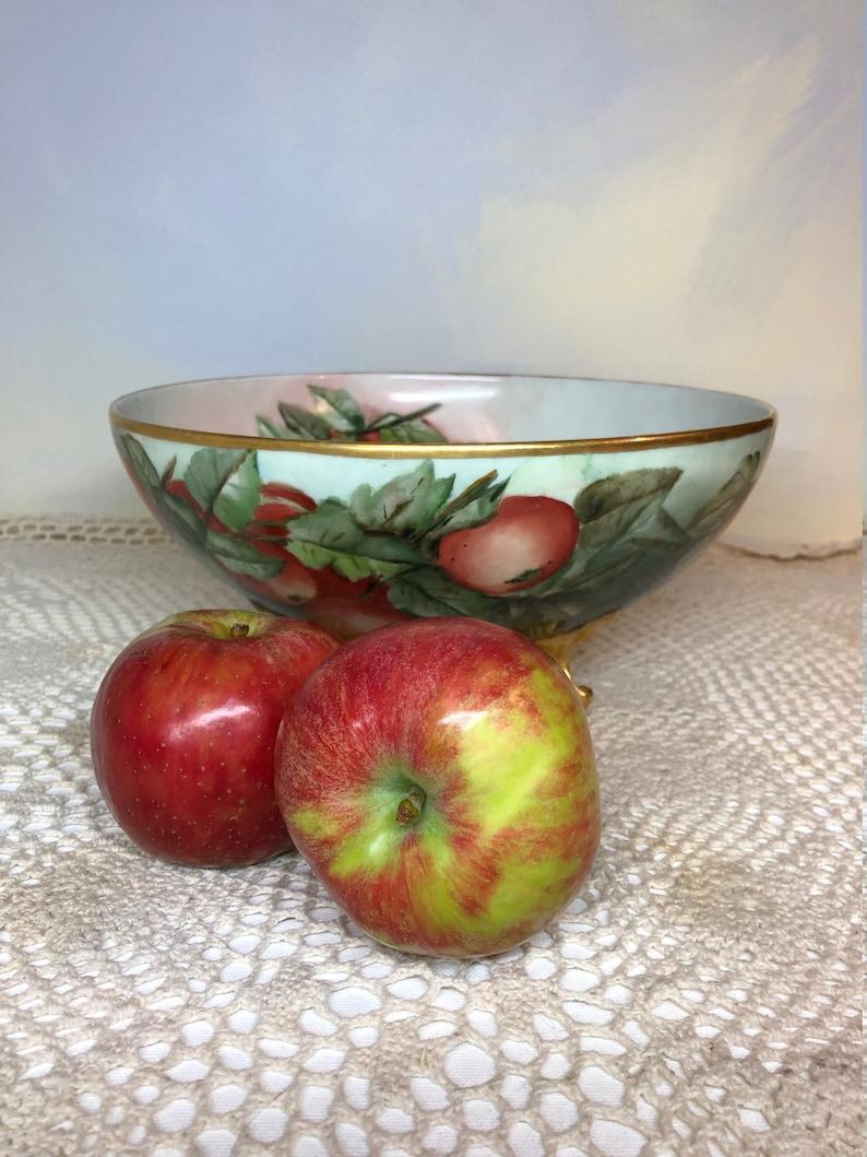 L and V Limoges hand painted porcelain  apple bowl