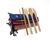 My Little Panda Compact Bamboo Lunch Set, Eco-friendly and 100 Natural reusable bamboo cutlery