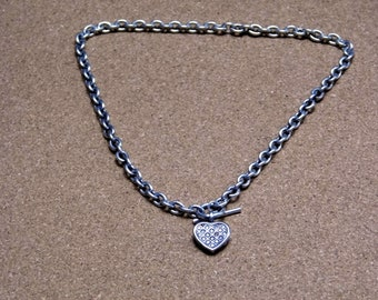 c4a0d647e Sterling Silver Cable Chain Size 18 Inch Vintage Heavy 925 49 Grams Diamond  Heart