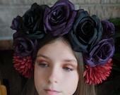 Black Purple Rose w Red Dahlia Crown - Day of the Dead Catrina Coachella Music Festival Mexican Flower Crown Sugar Skull Frida