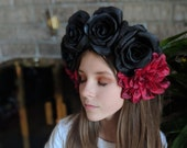 Black Rose Red Chrysanthemum Crown - Day of the Dead Catrina Coachella Music Festival Mexican Flower Crown Sugar Skull Frida