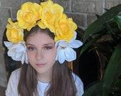 Yellow Rose White Magnolia Flower Crown - Day of the Dead Catrina Coachella Music Festival Mexican Flower Crown Sugar Skull Frida