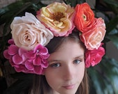 Pastel Spring Flower Crown - Day of the Dead Catrina Coachella Music Festival Mexican Flower Crown Sugar Skull Frida Spring Parties