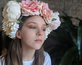 Peony Chrysanthemum Crown - Day of the Dead Catrina Coachella Music Festival Mexican Flower Crown Sugar Skull Frida Spring Parties