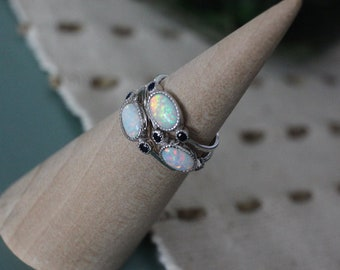 Lab Opal Silver Ring Size 7 gypsy ring cool ring hippie ring stone ring hippy ring gem ring gemstone ring boho ring 3000