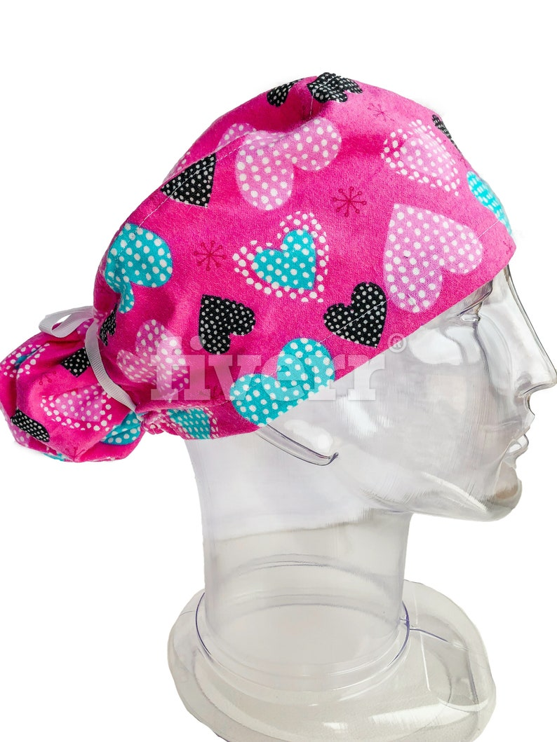 Turquoise Pink Black Hearts Ponytail Scrub Cap for Women