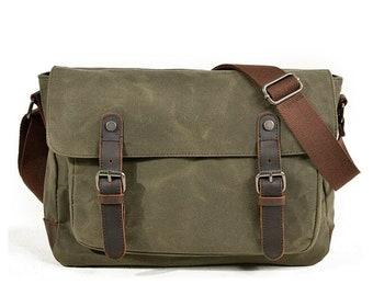 Waxed Canvas Leather Messenger Bag/Cross body Bag/Mens Laptop Messenger Bag/Briefcase/Wax canvas bag/Camera Bag/DSLR Bag/Gift for Men