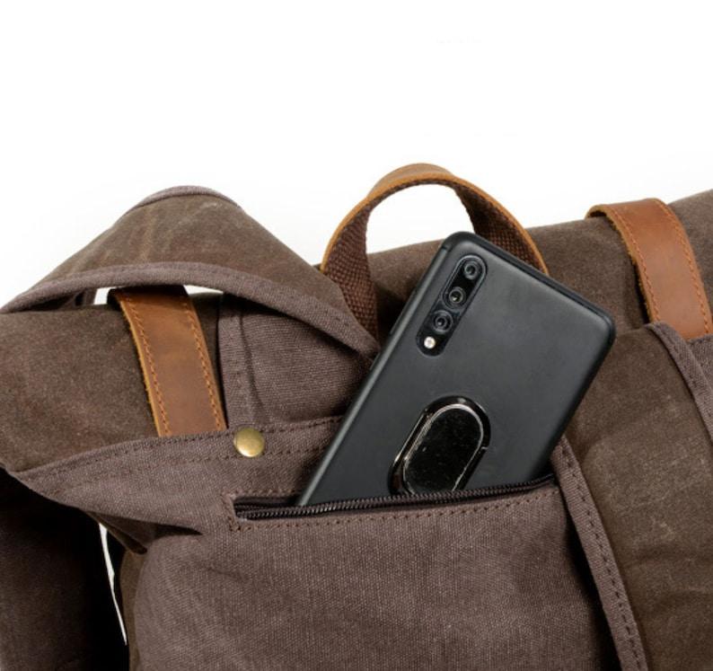 mens backpack Army Green backpack backpack men Canvas Leather Backpack laptop backpack leather rucksack,
