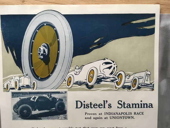 1923 DISTEEL Wheels vintage reproduction poster print AD 1920/'s 20/'s art