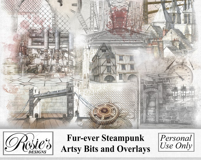 Fur-ever Steampunk Artsy Bits and Overlays