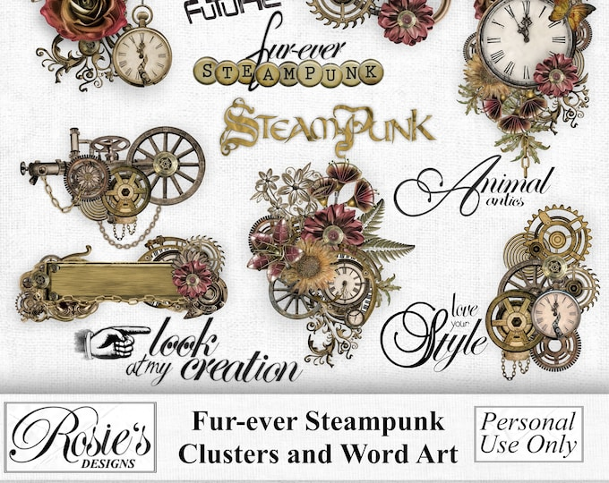 Fur-ever Steampunk Clusters and Word Art