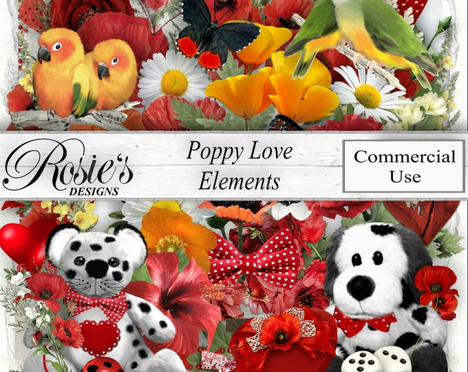 Poppy Love Elements for Commercial Use