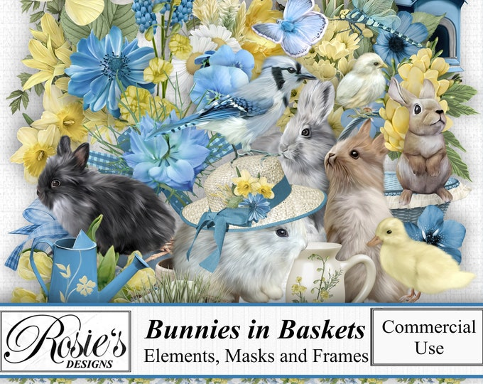 Bunnies in Baskets Elements and Frames for Commercial Use