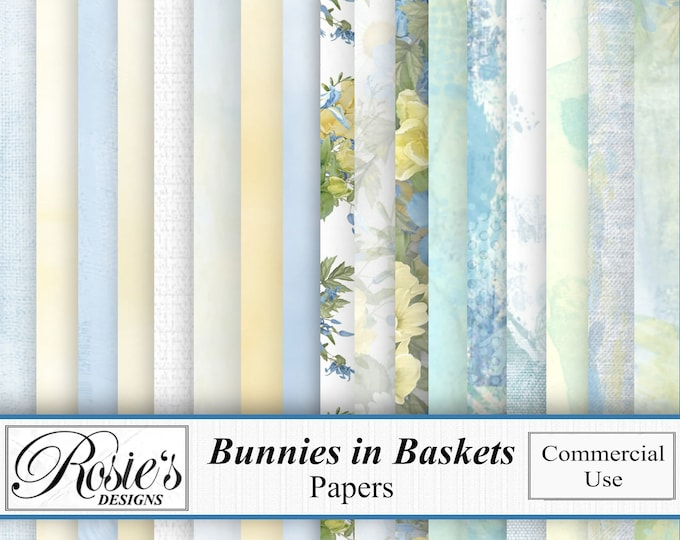 Bunnies in Baskets Papers Commercial Use