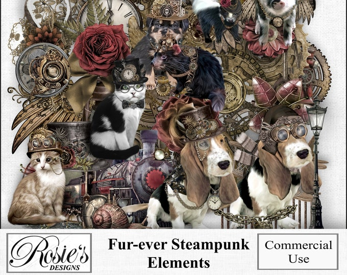 Fur-ever Steampunk Elememts for Commercial Use