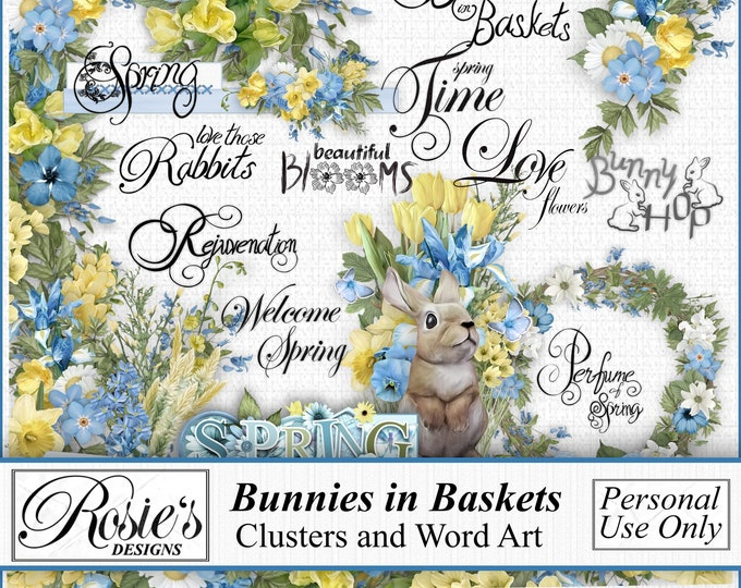 Bunnies in Baskets Clusters and Word Art
