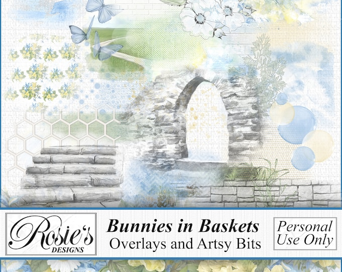 Bunnies in Baskets Artsy Bits and Overlays