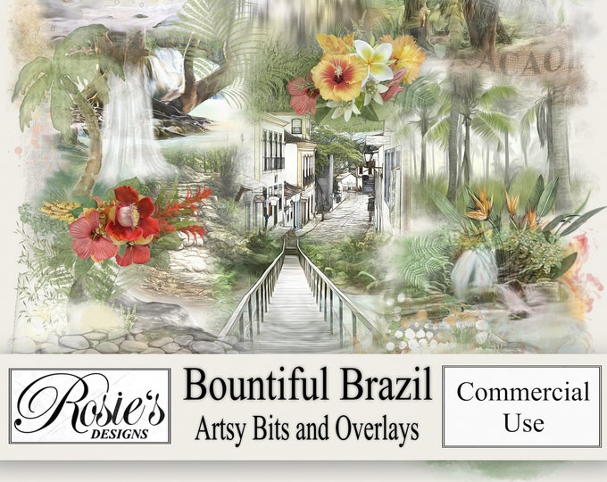 Bountiful Brazil Artsy Bits and Overlays for Commercial Use