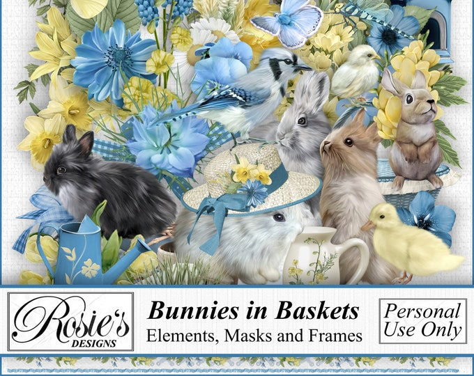 Bunnies in Baskets Elements and Frames