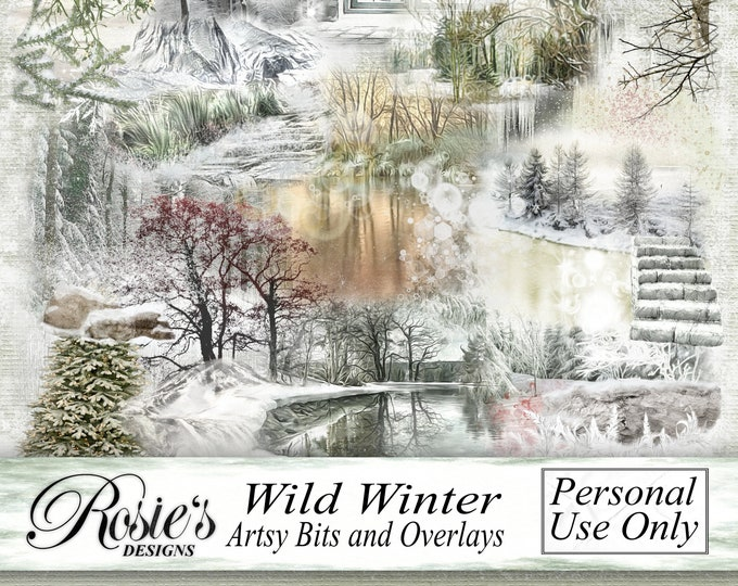 Wild Winter Artsy Bits and Overlays - Personal Use