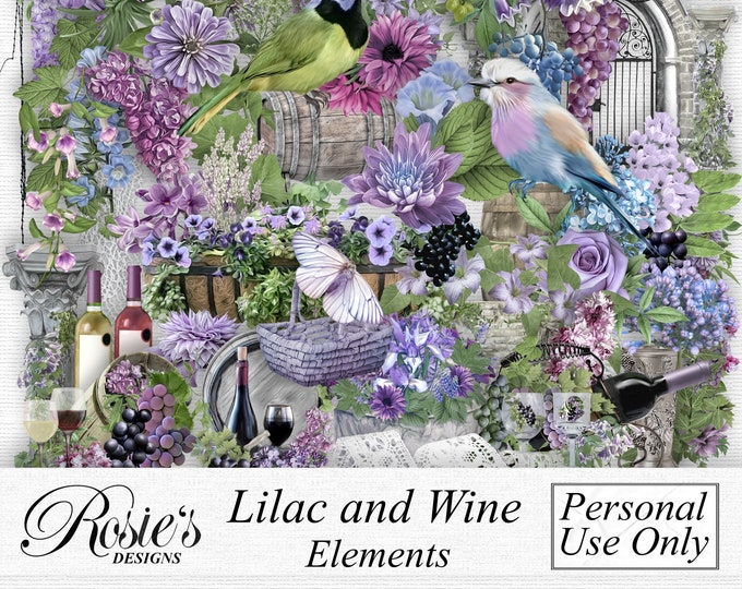 Lilac and Wine Elements Personal Use