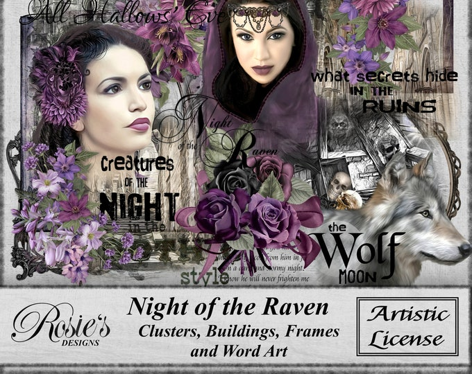 Night of the Raven Lusters Buildings Frames and Word Art - Artistic License