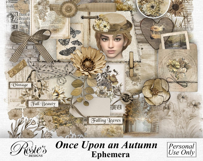 Once Upon An Autumn Ephemera Personal Use