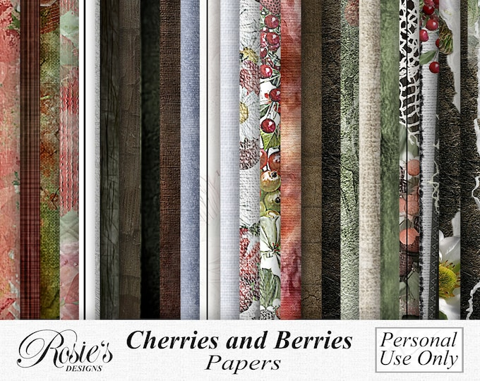 Cherries and Berries Papers  Personal Use