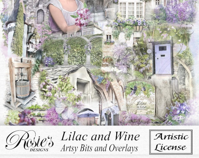 Lilac and Wine Artsy Bits and Overlays Artistic License