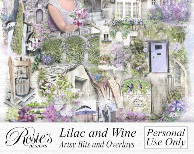 Lilac Wine Artsy Bits and Overlays Personal Use