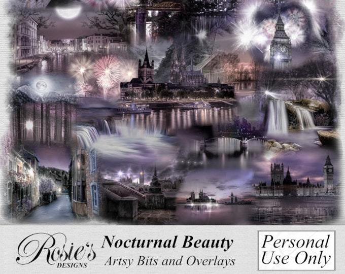Nocturnal Beauty Artsy Bits and Overlays Personal Use