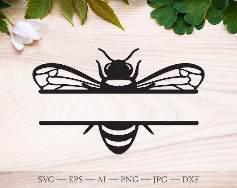 Split monogram svg bee frame svg Honey bee svg Bee monogram SVG beekeeper svg monogram frame svg