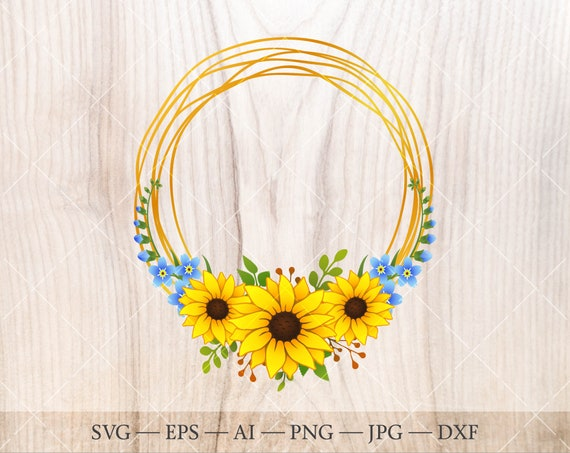 Boho sunflower wreath SVG Sunflower clipart Floral frame wreath