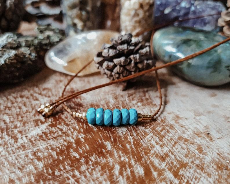 Handmade Macram\u00e8 Chokers Minimal Protection Turquoise Amulet Choose yours!