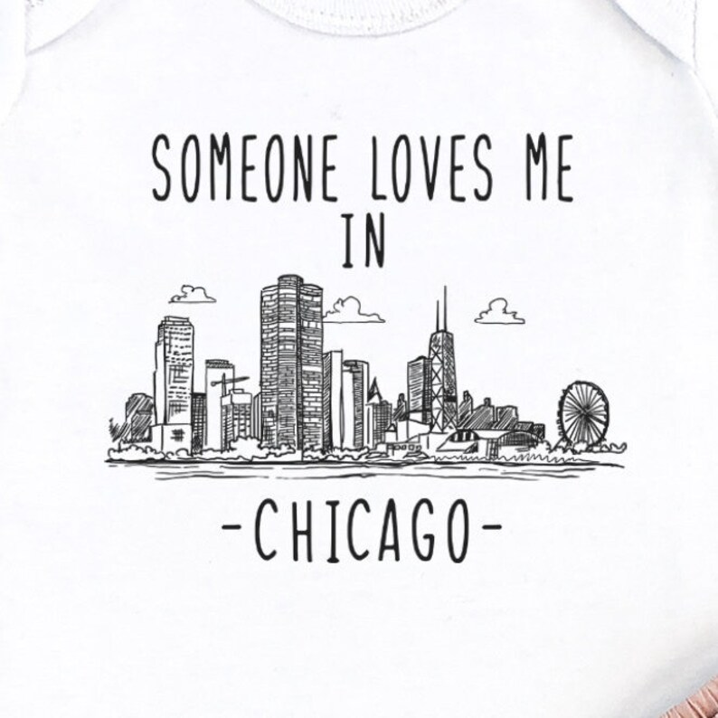 Gift For New Baby Illinois Baby Made in Chicago Baby Onesie Baby Boy Outfit Toddler Shirt Someone Loves Me In Chicago Long Sleeve