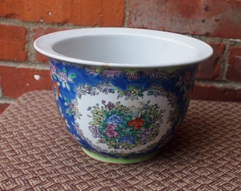 Stunning Blue and Green Painted Floral Planter