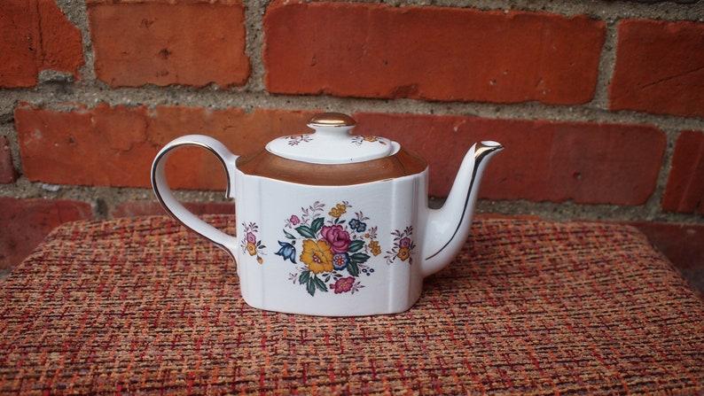 Vintage Haddon Gold Floral Teapot
