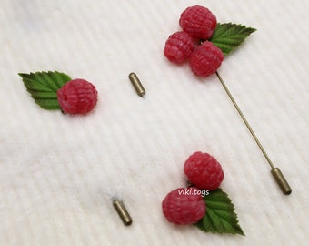 Mothers Day Gift for Women Earrings Red Gift For Her Berry Brooch Polymer Clay Flowers Brooch Wild strawberry