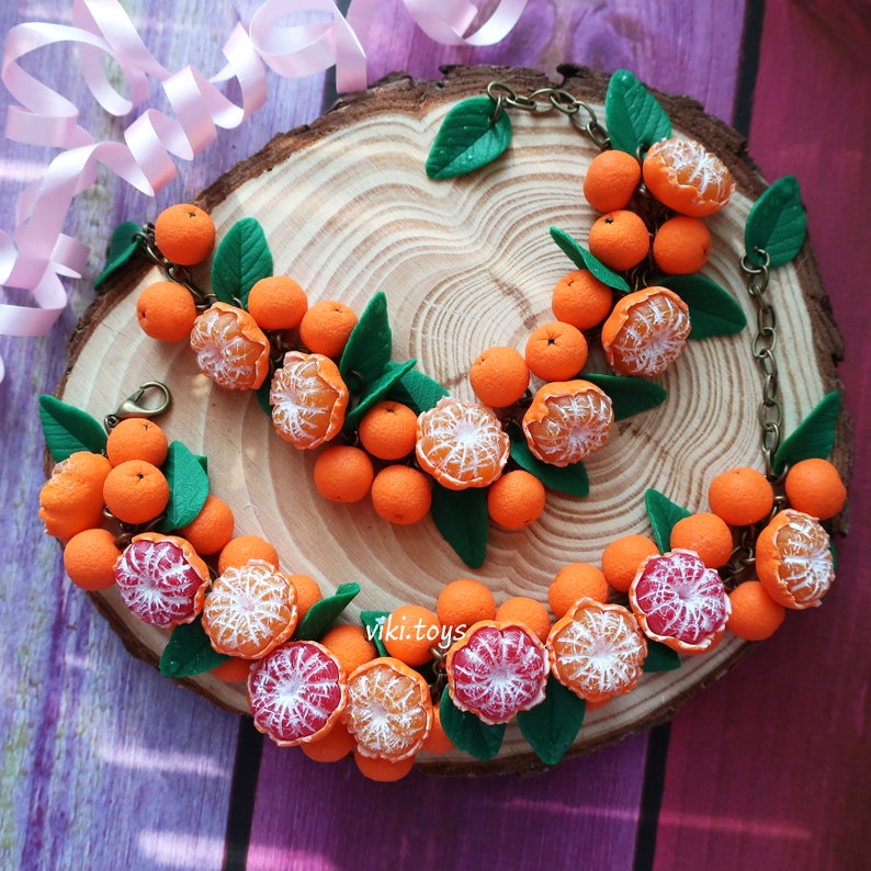 forest botanical bracelet Sunny bracelet with mandarins and oranges from polymer clay jewelry with berries fruits handmade finds